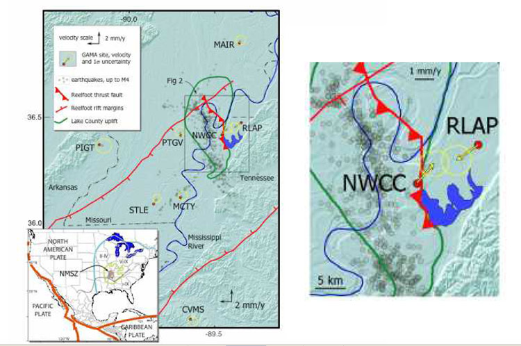 New Madrid Seismic Region Fault Line Maps Page - Map of us after new madrid earthquake