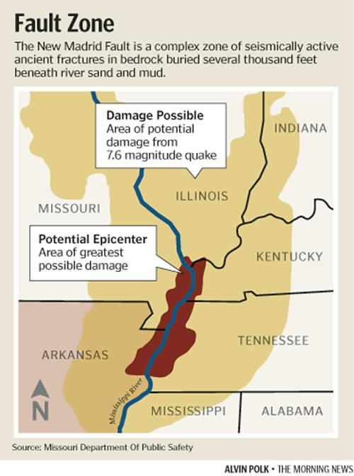 the new madrid fault zone Usgs says the new madrid fault, which runs through a number of midwestern states, has been identified as an area that has potential for larger and more powerful quakes than previously thought.