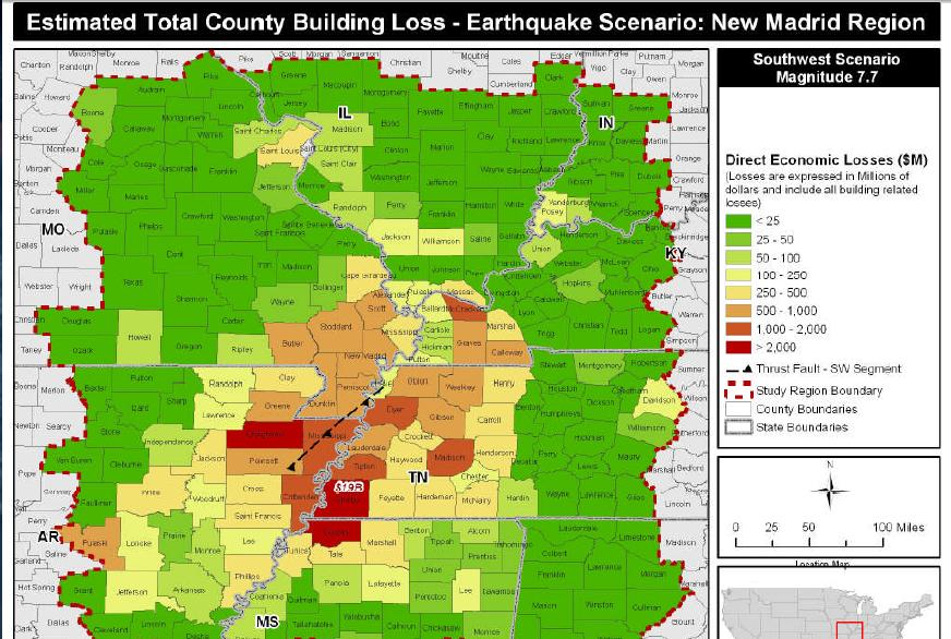 More New Madrid Seismic Maps - Map of us after new madrid earthquake