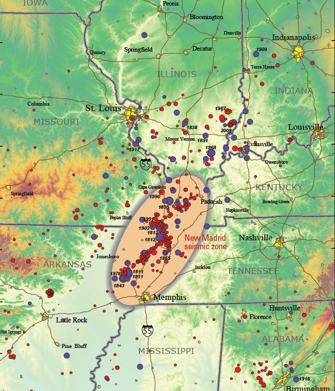 New Madrid Seismic Zone Maps Of Past Quake Activity